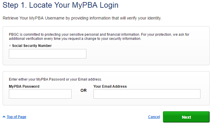 PBGC MyPBA Forgot Username