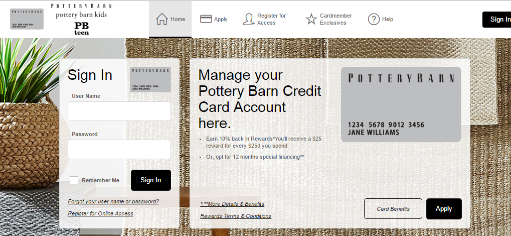 Pottery Barn Credit Card Login