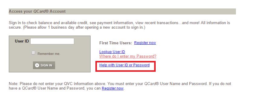 QVC Credit Card Forgot Password
