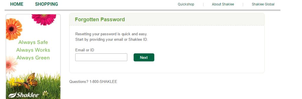Shaklee Account Lost Password
