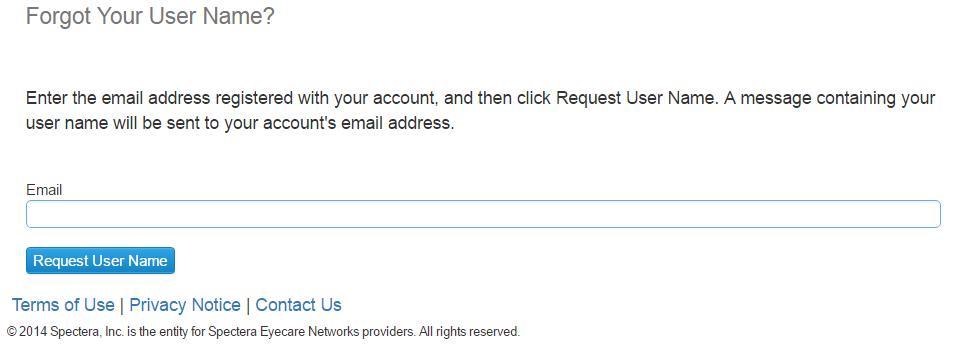 Spectera Provider Portal Forgot User Name 2
