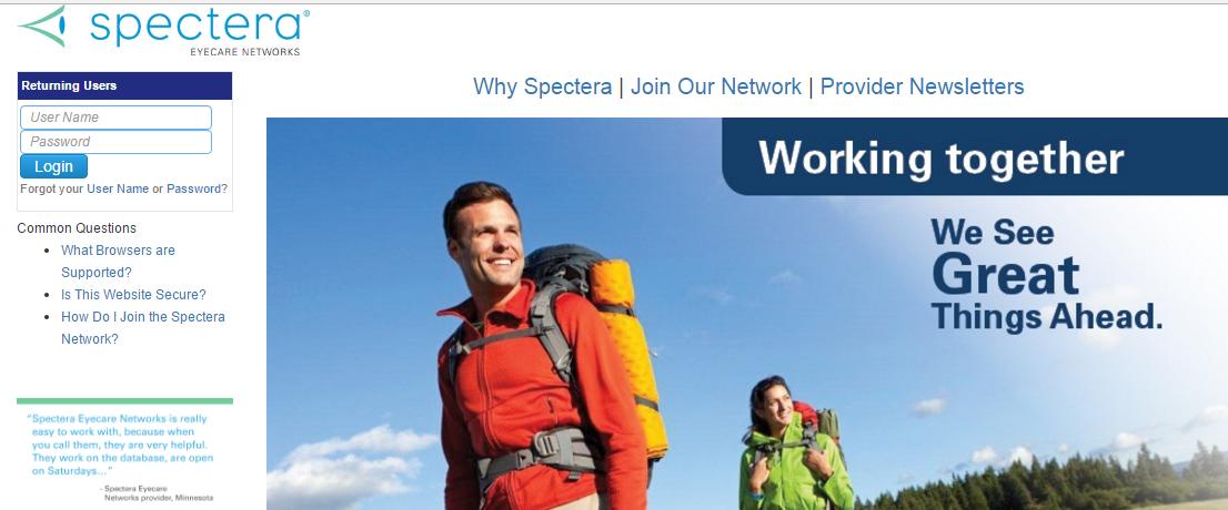Spectera Provider Portal Login