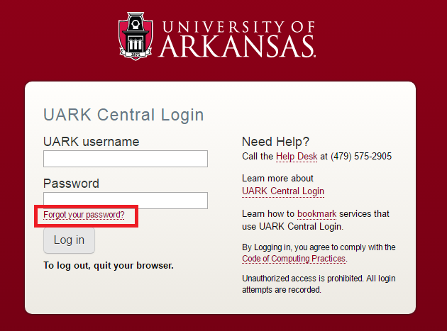 University of Arkansas Forgot Password