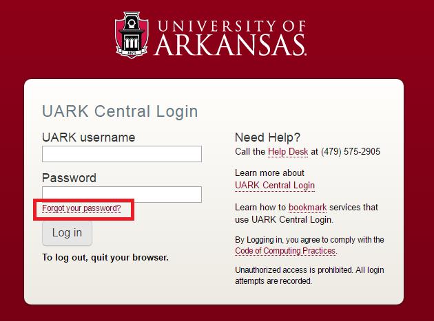 University of Arkansas Forgot Password