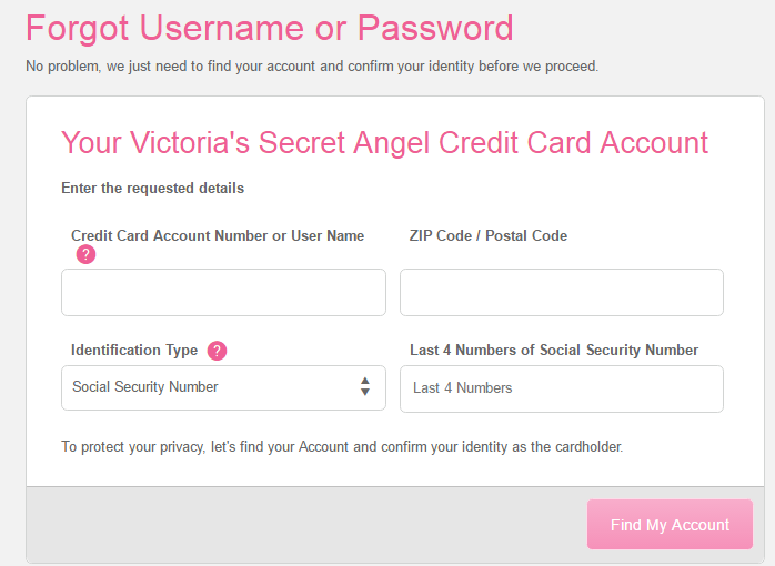 Victoria's Secret Credit Card Register
