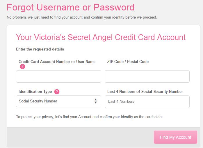 Victoria's Secret Credit Card Register