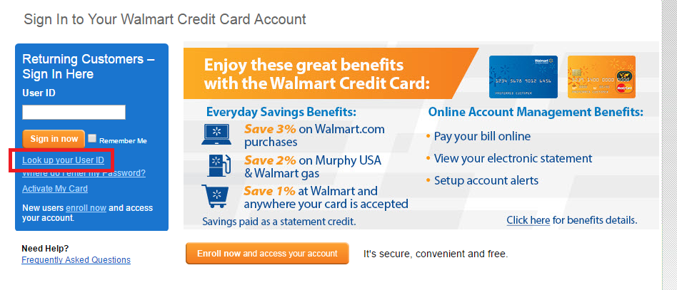 Walmart Credit Card Forgot ID