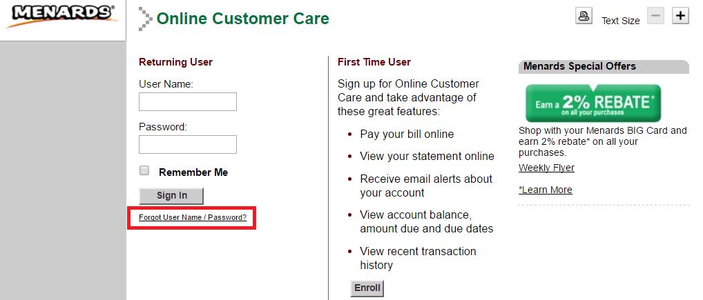 Menards Credit Card Forgot Username or Password
