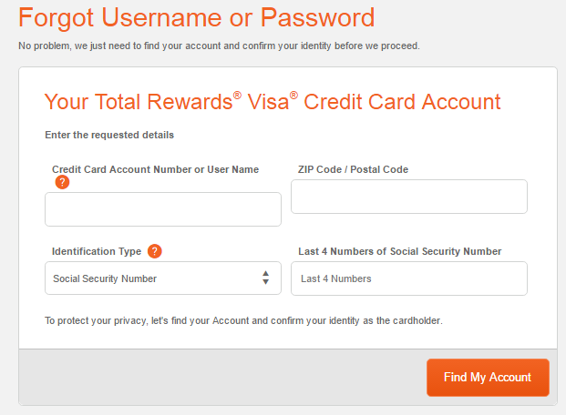 Total Visa Forgot Username
